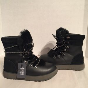 Ugg Viki Leather Black Sheepskin Waterproof Boots